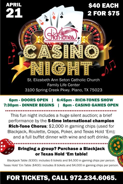 Rich-Tone Casino Night April 21, 2018